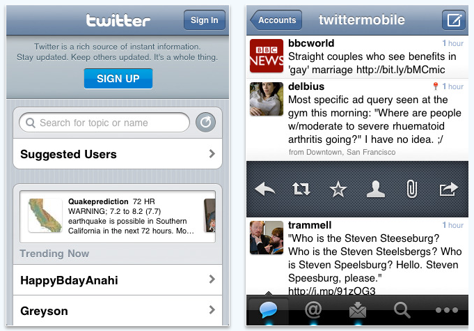 Official Twitter app for Iphone
