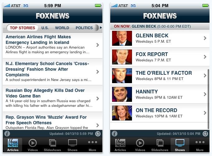 Fox News app for iPhone