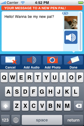 Pen pal app for iPhone, iPad