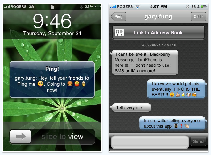 Pingchat for iPhone