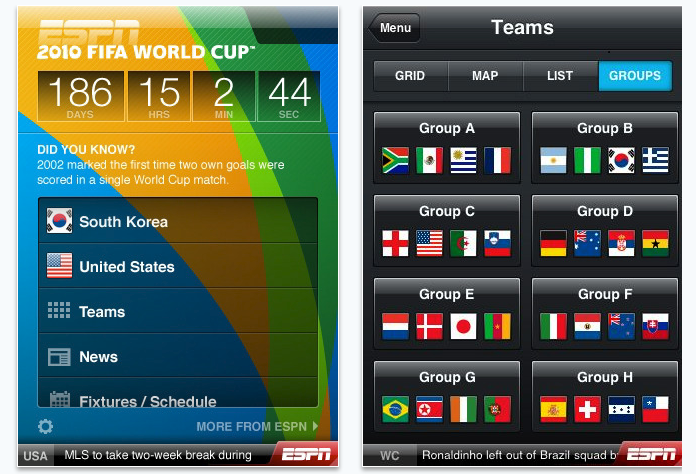 ESPN Word cup 2010 app for iPhone