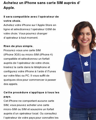 iPhone 4 unlocked in Apple store France