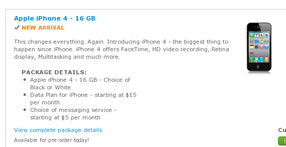 AT&T accepting iPhone 4 preorder