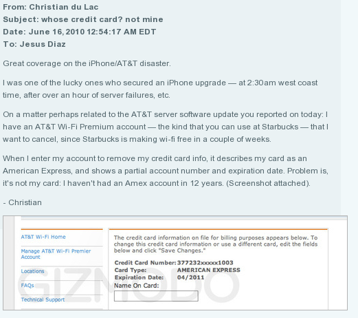 Att security breach reveals credit card informations