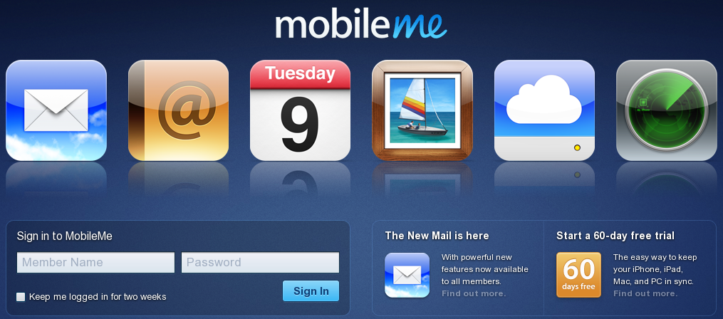 Mobileme new interface