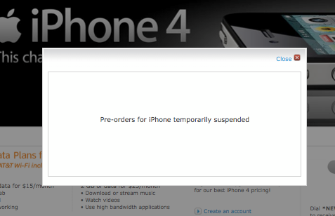 AT&T supends iPhone 4 pre orders