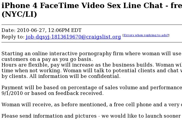 iPhone 4 Facetime sex chat