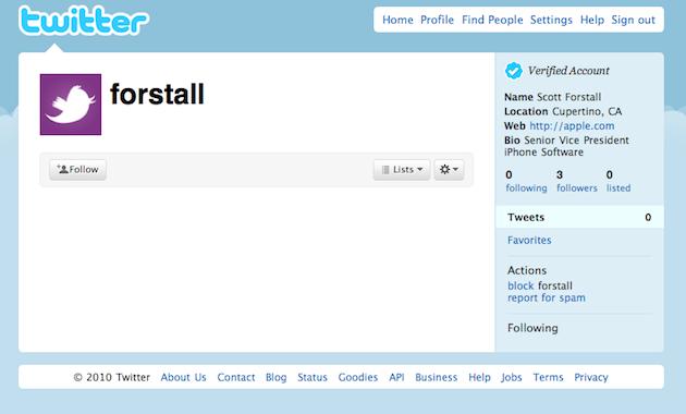 forstall joins twitter