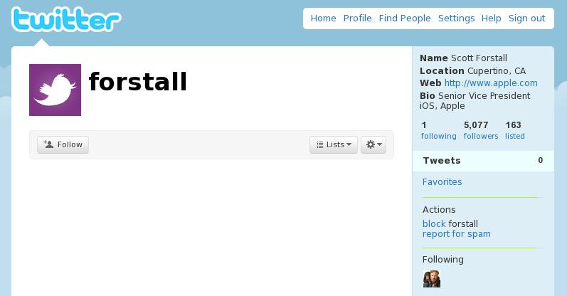 scott forstall joins twitter