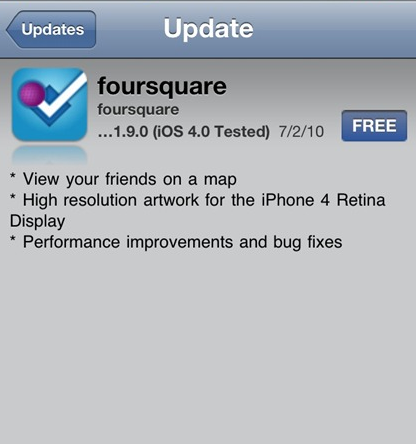 foursquare app update