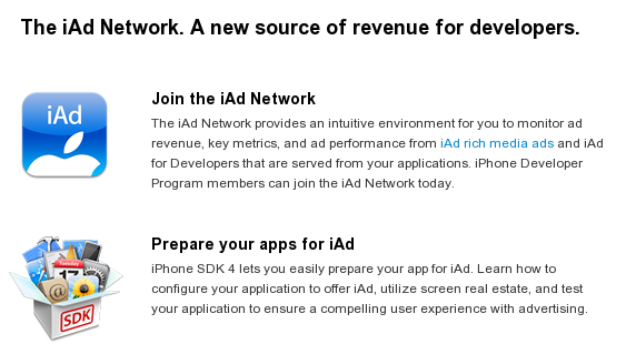 iAd launched for developers