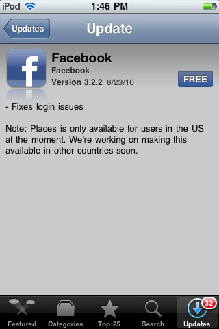 Facebook for iPhone version 3.2.2