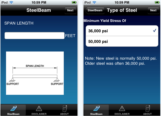 steel beam iPhone app review