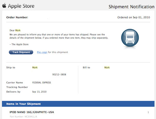 iPod Nano Shipment Notification