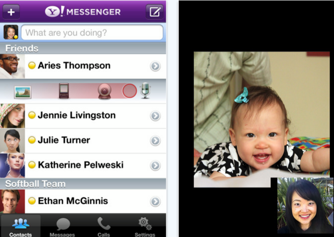 Yahoo messenger app enables video calls on iPod Touch 4