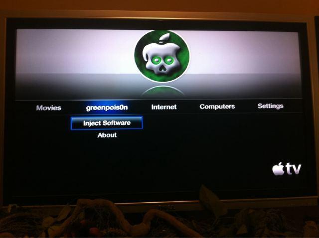 apple tv jailbroken using greenpois0n