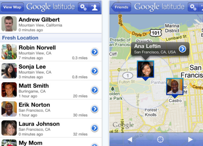 Google latitude available on the App Store