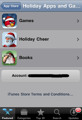 Apple adds holiday section to the app store