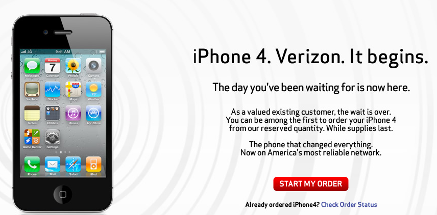 Verizon iPhone 4 pre-order