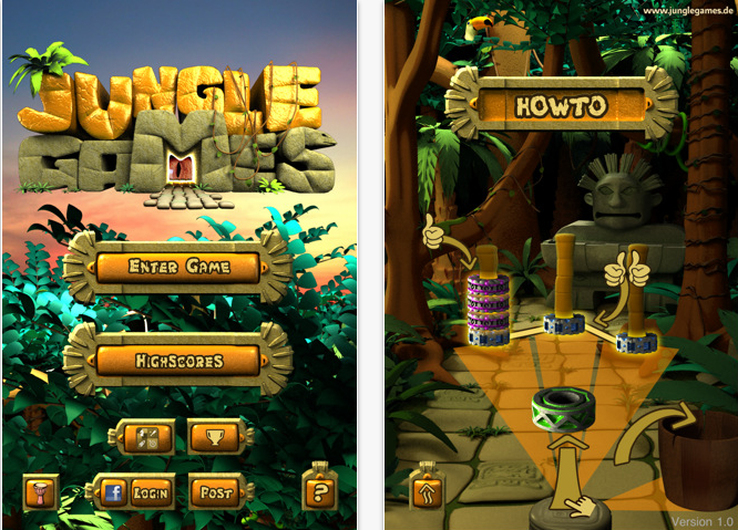 Jungle Games iPhone app screen shot