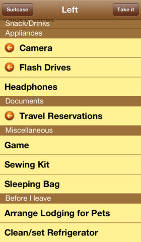 Suitcases - packing list