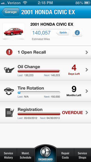 iPhone Vehicle Service App