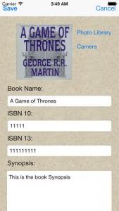 iPhone Book Catalogue App