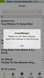 iPhone music BLEEPER App