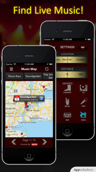 Live Music Map App for iPhone